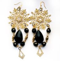 Black and Gold Filigree and Jet Drop Earrings by asunder