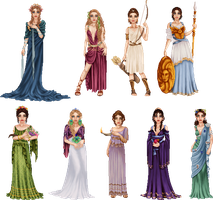 Greek Goddesses by LadyAraissa
