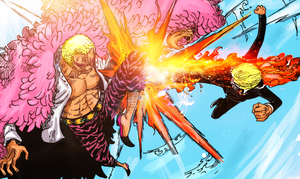 Sanji vs Doflamingo by sanderndreca