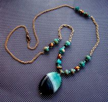 Turquoise Blue and Gold Necklace by MandarinMoon