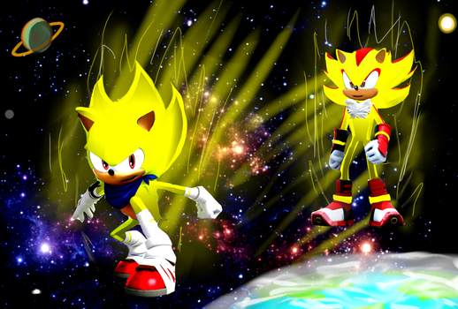 Super Sonic VS Super Shadow by AnixPawl