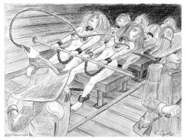 Galley slaves rowing by Romancoyne2