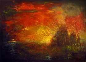 The impression of an imaginary forest fire by KlimN