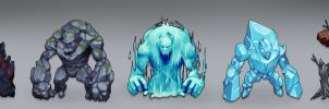 Elemental Golems by jeffchendesigns