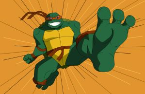 TMNT - Michelangelo big feet kick by KenJ91