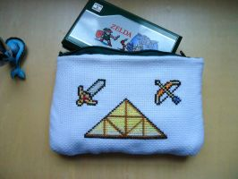 Cross stitch Zelda Game and Watch protector case by Miloceane