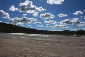 Back-lit Clouds at the Grand Prismatic Springs by Kage-Kaldaka
