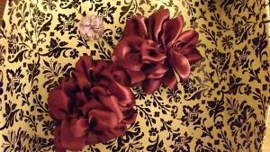Satin Ribbon flowers by lovechairmanmeow