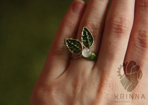 Wire wrap leaf ring with adularia and resin by Krinna
