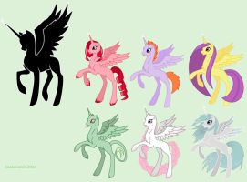 MLP adoptable alicorn fillies - closed by snakehands