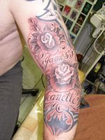 Roses and script by Inkcastle