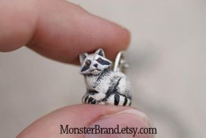 Tiny Raccoon Necklace by MonsterBrandCrafts