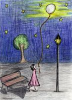 The girl with the moon balloon by Tanzuse