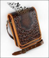 Leather shoulder, cross body, messenger bag by Fantasy-Craft