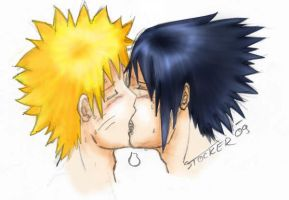 SasuNaru french kiss colored by SasukeTheRevenger
