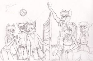 Taur's vs. Biped's: Volleyball - Line art plan by ZiggyJ101