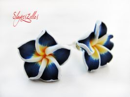 Navy blue polymer clay flowers post earrings by Benia1991