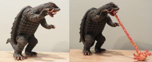 Showa Gamera with and without flames by Legrandzilla