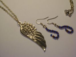 Ravenclaw Themed Necklace and earring set by mca2008