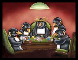Penguins Playing Poker by anrenee