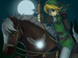 Link, Epona, and Navi by SilentCyllya