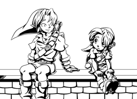 Big Link, Little Link - Lineart by Left-Handed-Knight
