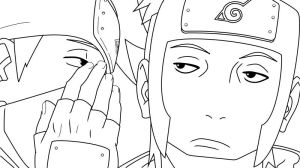 kakashi and yamato - lineart by ElseWhereLand