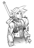 Quick Sketch WIP - Cloud Strife by iq40
