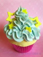 Blue Star Cupcake by FrostedFleurdeLis