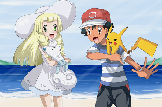 ash and lillie speedpaint*see description* by hikariangelove
