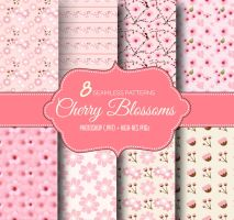 8 Cherry Blossoms Seamless Repeating Patterns by fiftyfivepixels