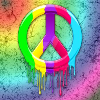 Peace Sign Dripping Rainbow Paint by Bluedarkat