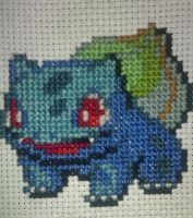 Bulbasaur Cross Stitch Finished by GaaraxHinata6666