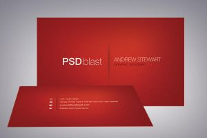 Red color business card template by psdblast