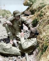 Marine breaks down after battle - colorized by OldHank