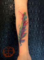 watercolor feather 1 by koraykaragozler