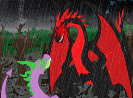 Spike vs Black Dragon by SemarglUno