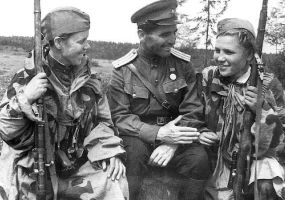 Russian female snipers and male officer WW2 by UniformFan