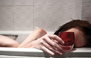 in the bath with a red thing by ChrissieRed