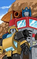 Optimus And Bumblebee Colors Done Low Res by BDixonarts