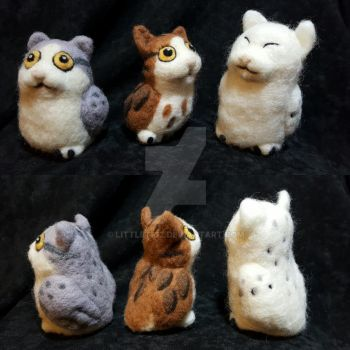 Needle Felted Meowls by littletig2