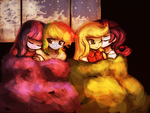 Snuggling to keep warm (commission) by luminaura