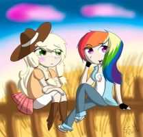 AppleJack and RainbowDash by Kazia-Kat