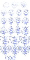 Wolfie head portrait view tutorial by BloodLadenWolf