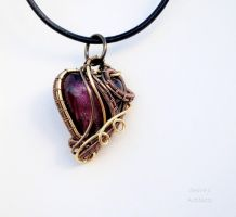 Purple heart wire wrapped pendant by IanirasArtifacts