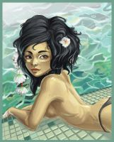 Girl by the pool by CantoChi