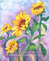 Sunny Sunflower Watercolor by foxvox