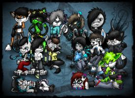 Big furry chibi group by Carlie-NuclearZombie
