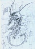My Two-Headed Dragon Line Art. by rosedragoness
