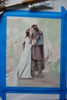Aragorn and Arwen- WIP by Lamorien